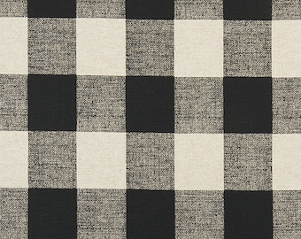 Linen Buffalo Check Fabric by the Yard Designer Black and Beige Plaid Fabric Curtain Drapery Home Decor & Upholstery Fabric M123