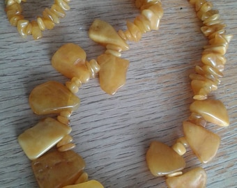 HUGE Vintage Hand-Crafted True Butterscotch Amber Necklace