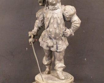 19th c Victorian French Cavalier Rapier Swordsmen Boy Statue Medieval Musketeer~