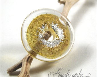 Handmade lampwork glass bead. Clear and silver with gold shimmer focal disc bead, Artisan, SRA
