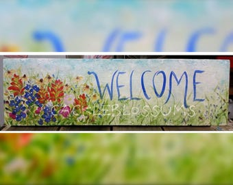 """9.5"""" X 24""""  #875 Texas Wildflower Art Signs bluebonnets, indian paintbrushes, yellow cone flowers, evening primroselArt on wood"""