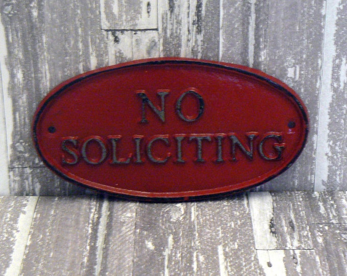 No Soliciting Cast Iron Sign Shabby Chic Red Wall Door Home Office Decor