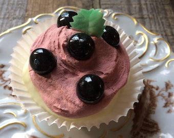 Faux Cupcake Blueberries Frosting Fake Food Photo Staging Prop