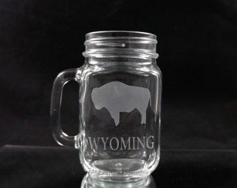 State of Wyoming Mason Drinking Jar - Wyoming Buffalo Mason Jar - Made in Wyoming - Wyoming Mason Jar - Mason Drinking Jar Buffalo