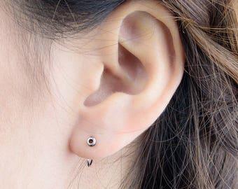 Tiny Circle Hoop Earrings, Sterling Silver, Gold Plated, Minimalist Hugging Earrings, Small Edgy Hoops, HUG Hoops, Gift, Lunai, EAR045