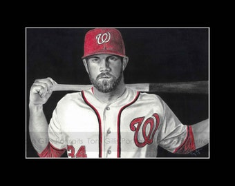 portrait drawing of Bryce Harper (matted print)