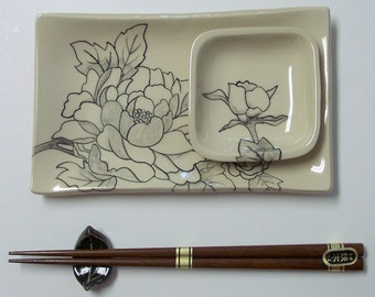 Handbuilt and Hand Painted Sushi Set,Peony
