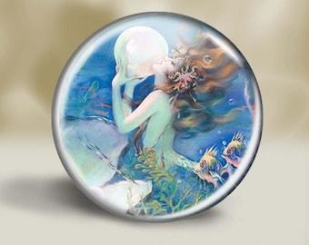 Mermaid Magnet, Pocket Mirror, Pin or Christmas Ornament, 2.25 Inch, Fantasy Mermaid, Siren Magnet, Unbreakable Ornament