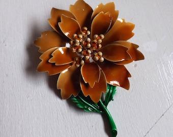 Vintage enamel flower brooch or pin layered dimensional brown on green stem