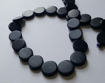 Black Beads, Flat Round Beads, 15mm, Lightweight Beads, Fast Shipping from USA