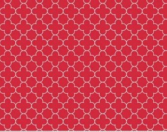 Red Mini Quatrefoil- -One Yard- Riley Blake