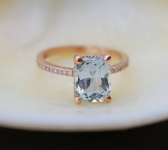 Mint sapphire ring. Blake Lively engagement ring  Mint Sapphire 14k rose gold diamond ring. Emerald cut ring. Solitaire ring.