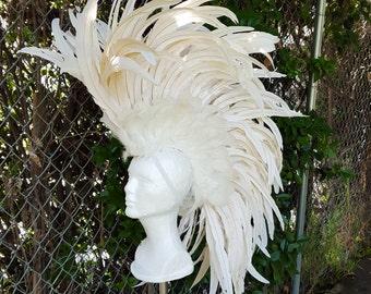 White Feather Headdress- Bridal Headdress, Headpiece, Costume Headdress