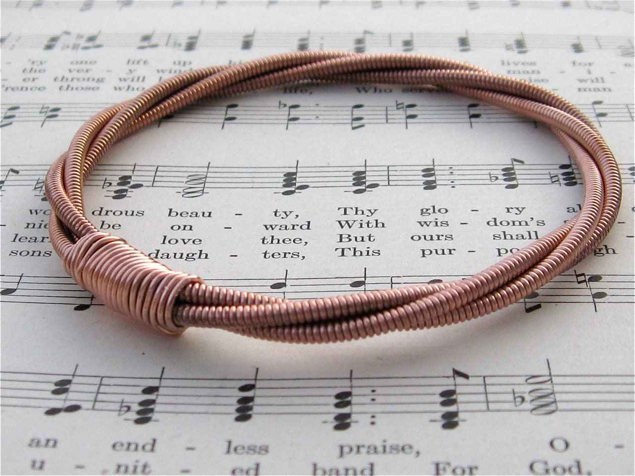 Recycled PIANO String Bracelet copper colored mens or womens