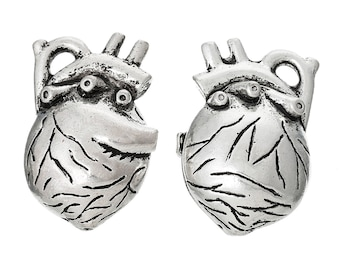 Anatomical Heart Charm, Antique Silver Tone (1L-200)