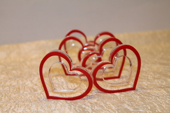 Red Heart Napkin Rings Mother's Day Gift Valentines Decor Set 12 Love Napkin Ring Holders Wedding Accessories Tableware Bridal Shower Party