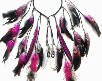 boho festival feather headband
