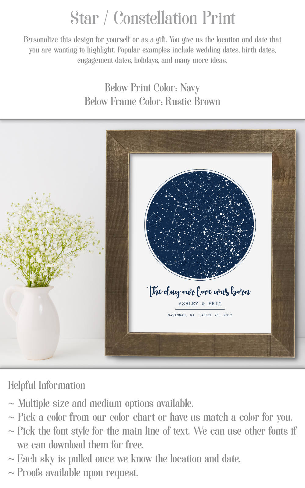 Personalised star map print custom poster framed chart night request a custom order and have something made just for you nvjuhfo Image collections