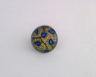 Adjustable cabochon ring patterns wax, gift idea