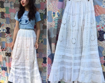 1900s Open Lace Prairie Skirt Small