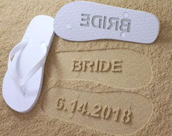 Custom Beach Custom Wedding Flip Flops - Personalized Wedding Shoes for Bride & Groom or Honeymoon *check size chart, see 3rd product photo*