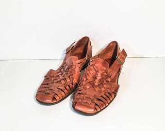 Brown woven leather huaraches size 9.5 - Women's woven leather shoes - Leather flats - Woven shoes - Boho hurarache - Brown leather sandal