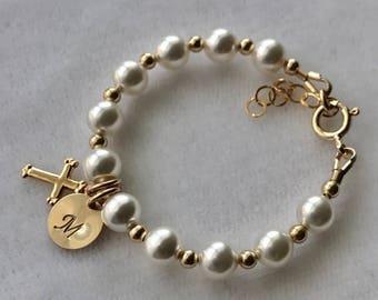 Gold Initial Cross Pearl Baptism Bracelet, Flower Girls Bracelet, Pearl Baptism Bracelet, First Communion, Confirmation, Baby Pearl Bracelet