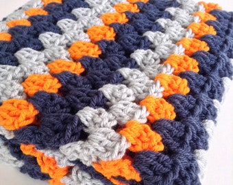 Baby Shower Gift - Baby Boy - Baby Blanket Crochet - Stroller - Keepsake - Crochet Baby Blanket - New Nephew Gift - Navy Orange Grey Nursery