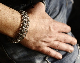 Solid stainless steel bracelet for him