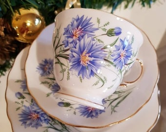 Bone China Trio/Vintage Royal Vale floral trio/pretty blue flowered china tea cup saucer and tea plate /ships worldwide from UK