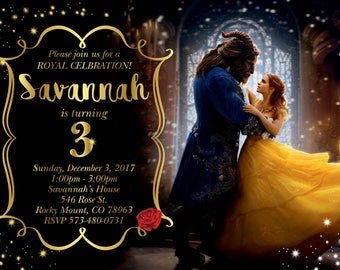 Beauty & The Beast Movie Birthday Invitation! Featuring Emma Watson as Belle! Digital File, Print at Home.
