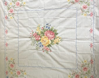Pink and Yellow Flower Tablecloth