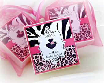 Bridal Shower Favors, Leopard print party favor, Shabby Chic Favor, Soap Favors, set of 10