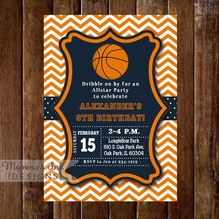 Basketball Invitation Basketball Birthday Invitation