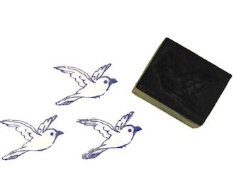 French Vintage Flying Bird Rubber Stamp. Letterpress Printing Block. Bird Art Print Stamp. Bird Scrapbook Supply.