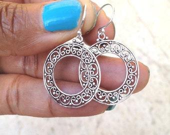Boho Dangle Earrings/ Silver Hoop Earrings/ Gift For Her/ Sterling Silver Boho Earrings/ Filigree Earrings/ Gift For Her/   Mothers Day Gift