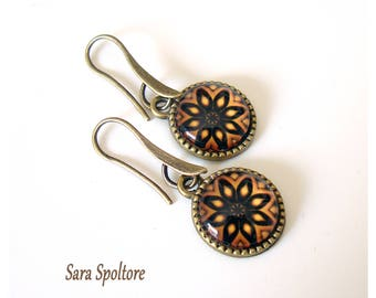 Kaleidoscopic pendant earrings - Handmade pendant earrings bronze orange - Dangle drop earrings