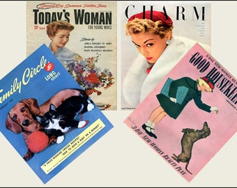 4 Miniature  vintage  '1950'   Magazines  -  Dollhouse 1:6th   1/12th   1/24th   1/48th   scale