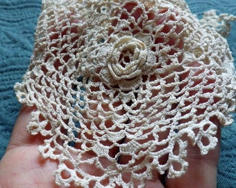 Gorgeous Victorian Irish Crochet Lace 3 D Clones Modesty Panel Bodice Collar Fab Rare Antique Bride Dress Collect
