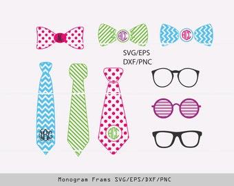 Bow tie SVG, glasses svg, tie monogram frame, glasses prints, glasses stickers, svg files for cricut INSTANT DOWNLOAD - Royalty Free.