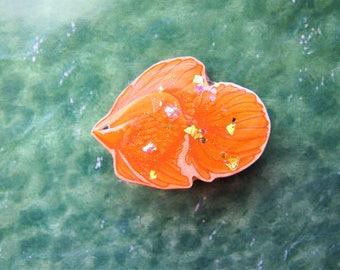 Hand Drawn Goldfish Badge/Pin/Brooch