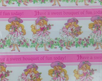 VTG 90s Peppermint Rose Doll birthday Gift Wrap wrapping paper folded 1 sheet