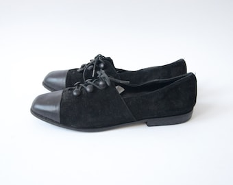 Vintage black suede flat women button lace up shoes