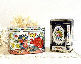 vintage white floral tin lidded storage tin tea tin Asian inspired tea tin tea cookie candy tin