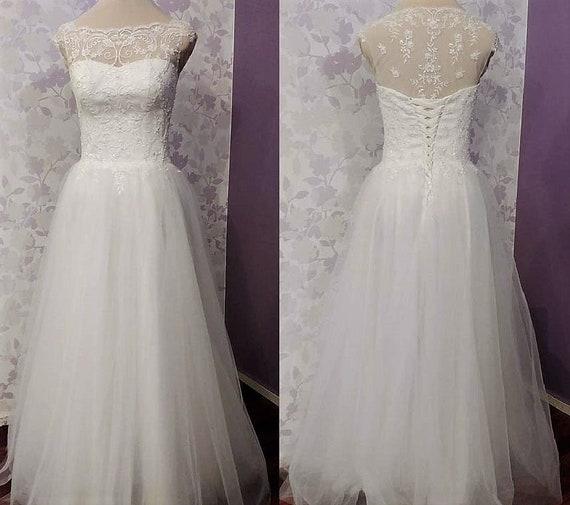 A-Linie Vintage inspiriert Hochzeitskleid mit Spitze Korsett