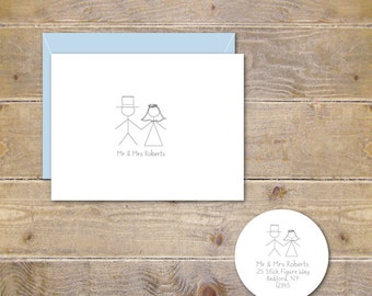 Wedding Thank You Cards, Personalized Wedding Cards, Stick Figure Cards, Whimsical, Stick Figures, Bridal Shower- Stick Figure Mr & Mrs