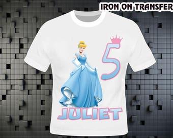 Princess Cinderella Iron On Transfer , Princess Cinderella Birthday Shirt DIY , Princess Shirt DIY , Iron On Transfer , Digital File