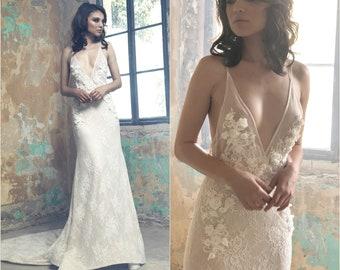 Open Back Wedding Dress, French Lace Wedding Dress, 3d flowers, Wedding gown, low back Wedding Dress, Unique wedding dress, bridal dresses