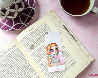 cute tea maid bookmark with charm - kawaii pastel chibi pendant page marker - anime lolita girl