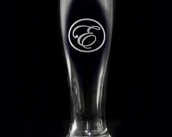 Pilsner Beer Glass, Custom Engraved Monogram Barware Gifts, M15